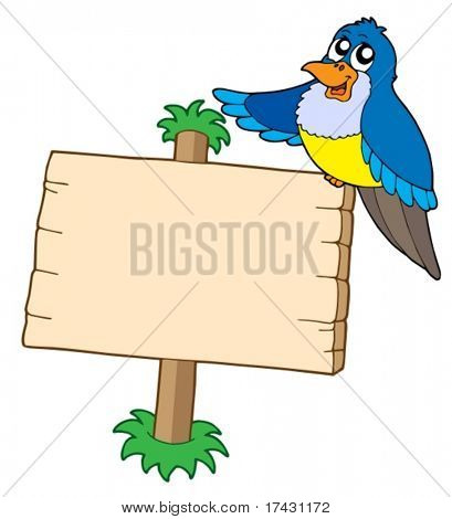 Wooden sign with blue bird - vector illustration.