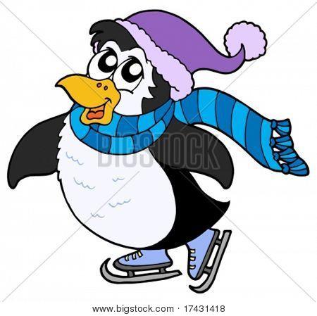Skating penguin on white background - vector illustration.