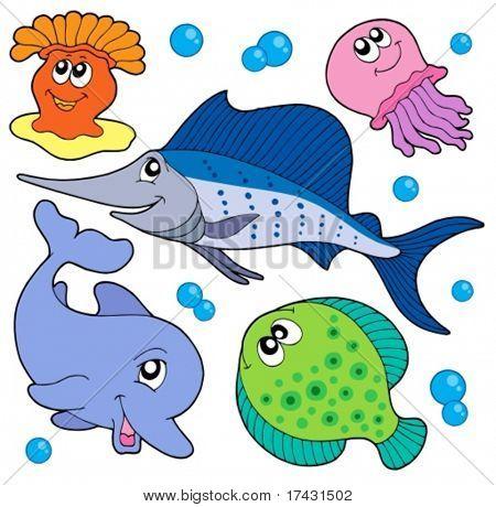 Cute marine animals collection 2 - vector illustration.