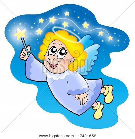 Cute angel with magical wand - color illustration.