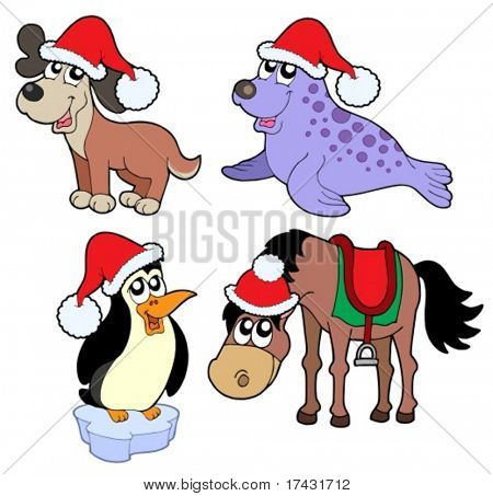 Christmas animals collection 1 - vector illustration.