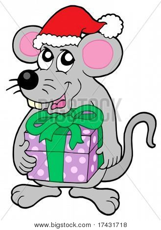 Christmas mouse with gift - vector illustration.