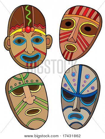 Tribal masks collection - vector illustration.