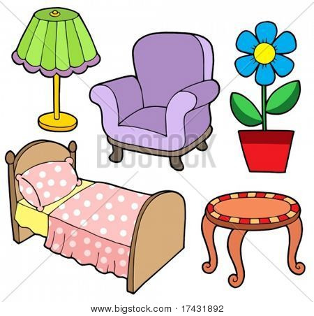 Furniture collection 1 on white background - vector illustration.