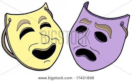Pair of theatre masks - vector illustration.