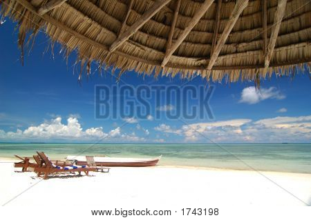 Tropical Beach Resort With Bamboo Hut