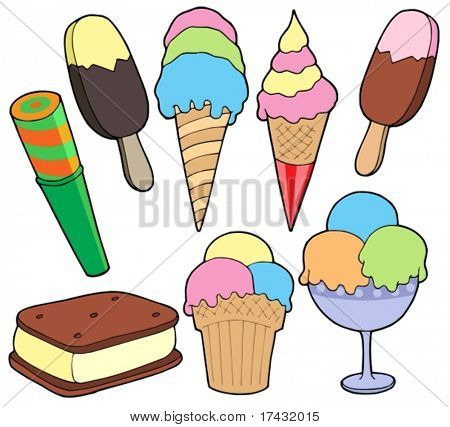 Ice cream collection - vector illustration.