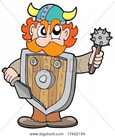 Angry viking warrior - vector illustration.