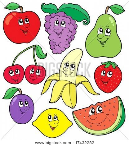 Cartoon fruits collection 1 - vector illustration.