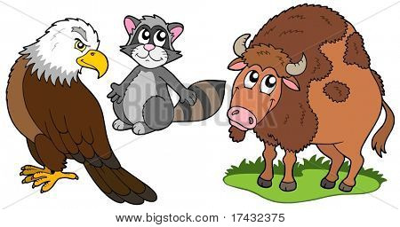 North American animals collection - vector illustration.