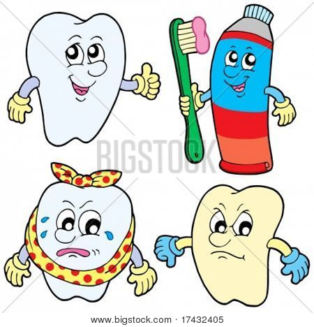 Tooth collection 1 on white background - vector illustration.
