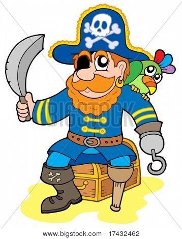 Pirata sentado no baú - ilustração vetorial.