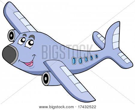 Cartoon airplane on white background - vector illustration.
