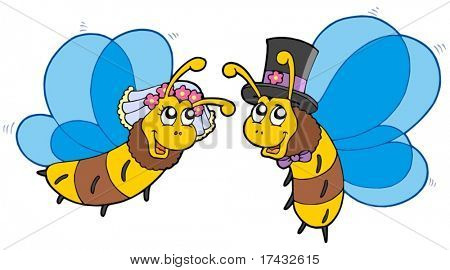 Honey bees wedding couple - vector illustration.