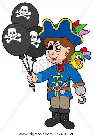 Pirate boy with balloons - vector illustration.