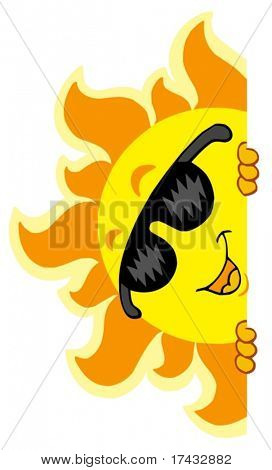 Lurking Sun with sunglasses - vector illustration.