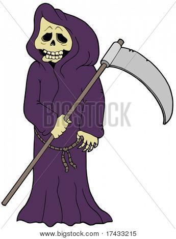 Cartoon grim reaper - vector illustration.