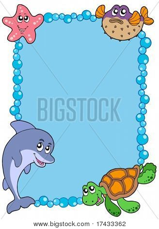 Frame with sea animals 1 - vector illustration.