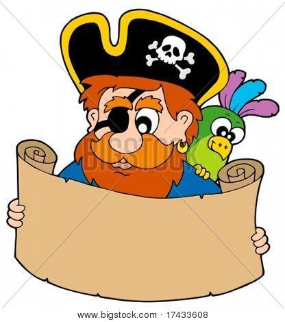 Pirata lendo o mapa do Tesouro - ilustração vetorial.
