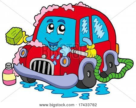 Cartoon car wash - vector illustration.