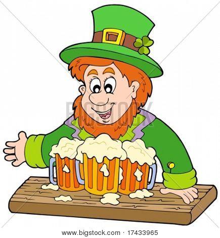 Leprechaun with three beers - vector illustration.