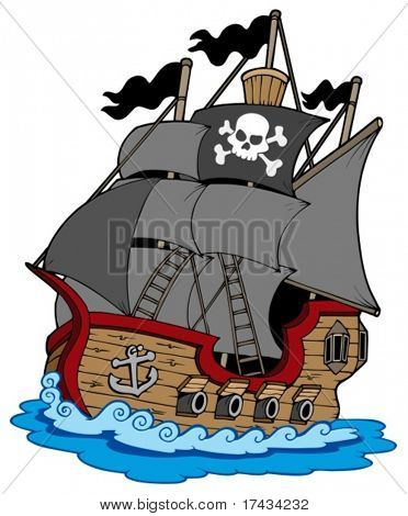 Pirate vessel on white background - vector illustration.