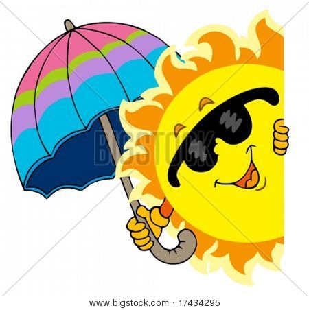 Lurking Sun with umbrella - vector illustration.
