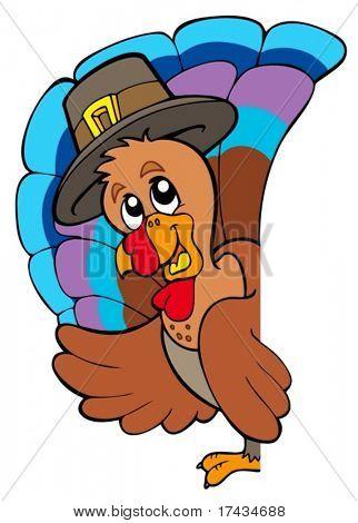 Lurking Thanksgiving turkey - vector illustration.