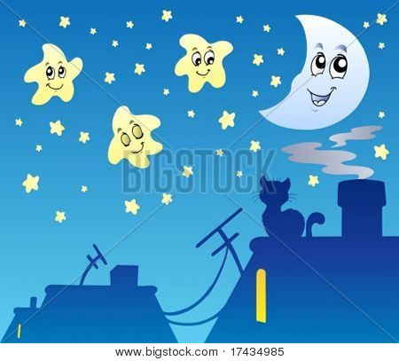 Starry sky with rooftop silhouette - vector illustration.