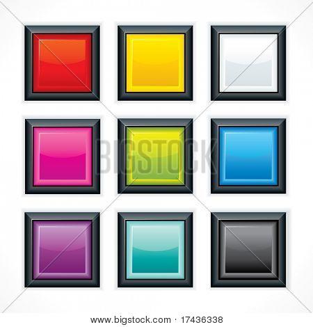 Botones web en blanco vidrioso. Plaza en forma de reflexión y borde negro