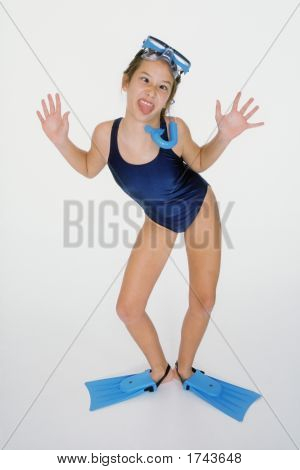 Preteen In Swimsuit Actting Silly