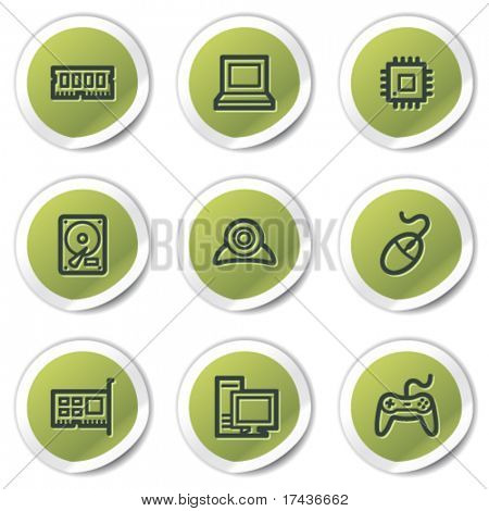 Computer web icons, green circle stickers