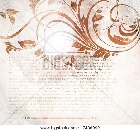 Invitation vintage card with floral ornament, with flower for retro spring or summer design. Eps 10.