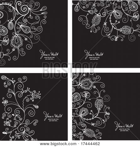 set of black and white floral backgrounds