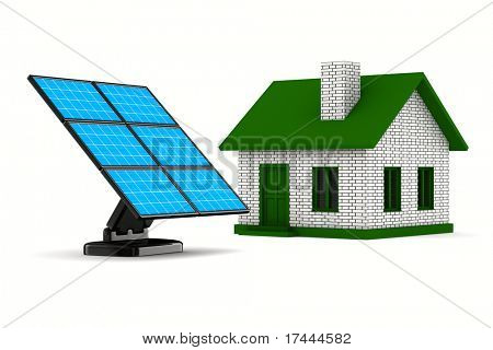 solar battery and house on white background. Isolated 3d image