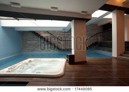 large swimming pool and jacuzzi tub in modern apartment