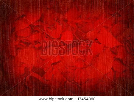 Background with fabric structure and petals of roses
