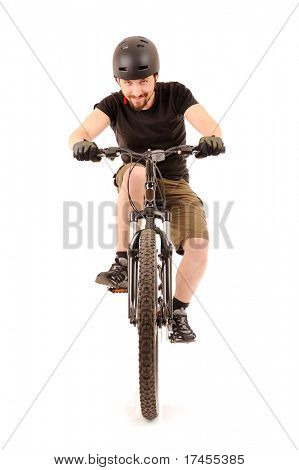 The bicyclist isolated on white, studio shot.