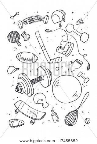 Vector illustraition of sports accessories, hand drawn design set.