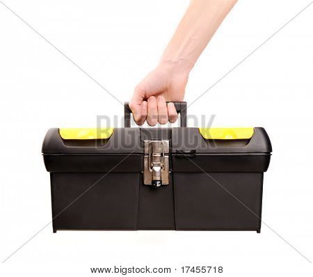 hand holding toolbox isolated on white, carpenter.