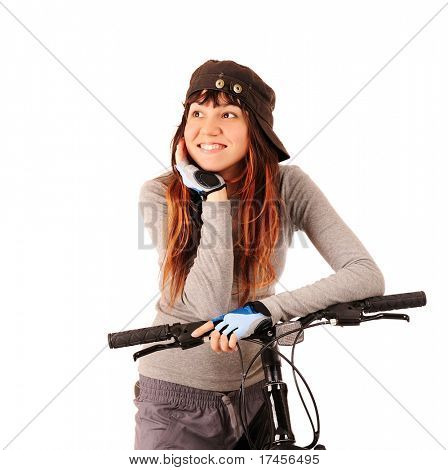 Young smiling woman bicyclist isolated on white