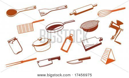 Set of vector kitchen utensil tool.