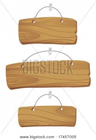 wooden boards hanging on a cord with a nail