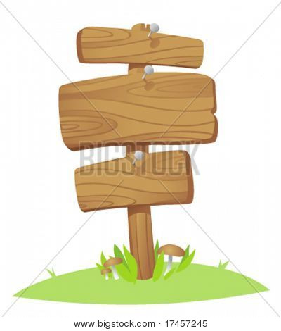 wooden boards on a grass
