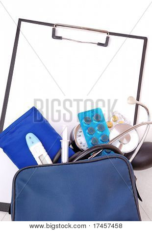 Medical set for first aid and clipboard