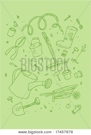 illustraition of cartoon garden tool, hand drawn design set.