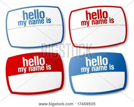 Hello my name is color signs with blank white copyspace for text message.