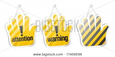 Set of warning vector signs in form of palm