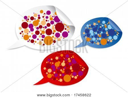 Color stickers in form of speech bubbles with place for text.