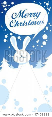 Christmas card with rabbit talking Merry Christmas.